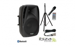 P.A. amplificado Ibiza BT15A-PACK - 500-1.200W - Coluna + Tripe + Micro + Cabo