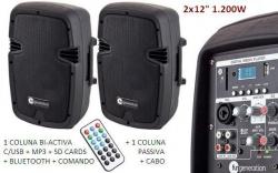 P.A. amplificado Fun Generation PL 112 - 2 Colunas + Cabo - 1.200W (USB + MP3 + SD Cards + Bluetooth + Radio + Comando)