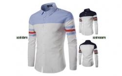 Camisa manga comprida Crlaisrwolf blue - algodao e polyester - slim fit - em azul claro ou azul escuro