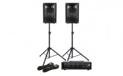 P.A. amplificado Fame Starter Pack Pro - 2 Colunas + Mesa + 2 Tripes + Cabos - 300-600W