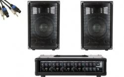P.A. amplificado Fame Starter Pack Pro - 2 Colunas + Mesa + Cabos - 300-600W