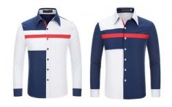 Camisa manga comprida YXY Toonies - algodao e polyester - slim fit - branco/azul
