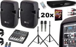 Pack de Karaoke 5 - 800-960W - Mesa de Mistura + 2 Colunas + Leitor + 20 Discos + 2 Micros + 2 Tripes + Cabos