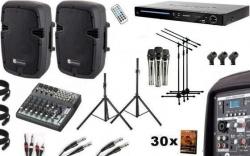 Pack de Karaoke 6 - 1.200W - Mesa de Mistura com efeitos + 2 Colunas activas + Leitor + 30 Discos + 3 Micros + 5 Tripes + 3 Pincas + Cabos