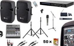 Pack de Karaoke 7 - 1.200W - Mesa de Mistura com efeitos + 2 Colunas activas + Leitor + 50 Discos + 2 Micros + 3 Tripes + 1 Pinca + Cabos