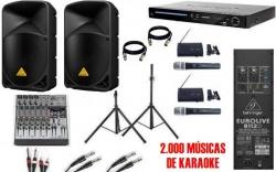 Pack de Karaoke 8 - 2.000W - Mesa de Mistura com efeitos + 2 Colunas activas + Leitor + 2.000 Musicas + 2 Micros + 2 Tripes + Cabos