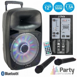 Coluna amplificada Party SP500 - 500W - 12 polegadas - 2 Micros + USB + SD Cards + Bluetooth + Comando - a bateria/s