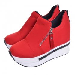 Tenis-Botins de Senhora Hee Grand - algodao sintetico/PU/borracha - sola alta em cunha - preto/vermelho