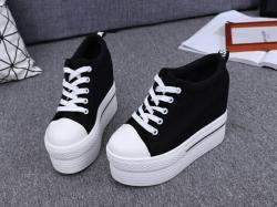 Tenis-Botins de Senhora Platform - tecido/PU/borracha - sola alta em cunha - preto/branco/vermelho/multicolor