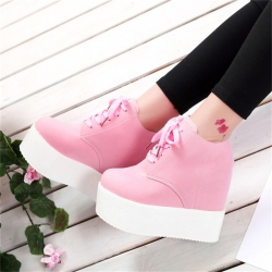 Tenis-Botins de Senhora Akexiya - pele/PU/borracha - sola alta em cunha - preto/branco/rosa
