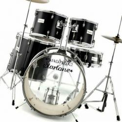 Bateria Acustica completa Startone Star Drum + 3 Pratos - preto