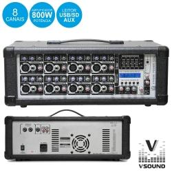 Cabeca-Mesa amplificada VSound Xtreme Power 120A - 800W - 8 vias - Efeitos + USB + MP3 + USB + SD Cards