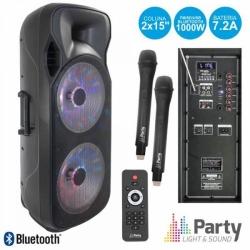 Coluna amplificada Party 215LED - 1.000W - 2x15 polegadas - 2 Micros + USB + SD Cards + Bluetooth + Radio + Comando - a bateria/s
