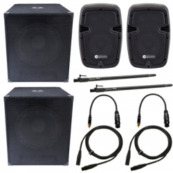 P.A. amplificado Fun Generation  PL 108 A Power Bundle - 2.480-2.640W - 2 Subgraves + 2 Tops + 2 Barras + Cabos