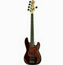 Baixo Harley Benton PJ-5 HTR Deluxe Series - 5 cordas - vermelho hot rod