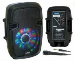 Coluna amplificada Party 7LED - 300W - 8 polegadas - 1 Micro + USB + SD Cards + Bluetooth + Efeitos + Radio + Comando - a bateria/s