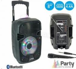 Coluna amplificada Party 7ASTRO - 300W - 8 polegadas - 1 Micro + USB + SD Cards + Bluetooth + Efeitos + Radio + Comando - a bateria/s