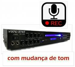 Leitor de Karaoke Vocal Star VS-1200 - HDMI - CD + DVD + CDG + VCD + USB + MP3 + SD Cards + Bluetooth + Efeitos + Gravacao - 2 Micros e ligacao