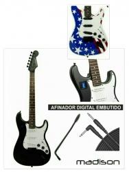 Guitarra Electrica Madison STEG - Stratocaster style - preto (com Afinador) ou U.S.A. (sem Afinador) + Cabo + Alavanca