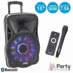 Coluna amplificada Party 15LED - 800W - 15 polegadas - 1 Micro + USB + SD Cards + Bluetooth + Efeitos + Radio + Comando - a bateria/s