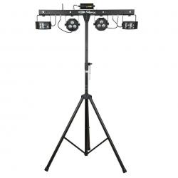 Tripe e Barra com Luzes Showtec QFX Multi FX Compact Light Set - Laser + 2 Focos (RGB/Strob) + 2 Derbys + Pedaleira - DMX/Auto/Som