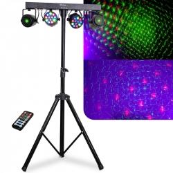 Tripe e Barra com Luzes Ibiza DJLIGHT65 - 2 Lasers + 2 Focos (RGBW) + Comando - DMX/Auto/Som