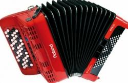 Acordeon Roland FR-1XB RD - de botoes - digital - USB + MIDI - vermelho