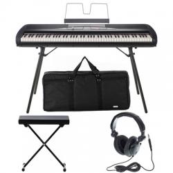 Piano Digital Korg SP-280 BK Bundle + Banco + Headphones + Saco