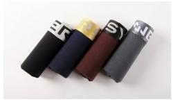 4 Boxers justos Innersy - lisos - preto, cinza escuro, azul e castanho
