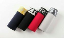 4 Boxers justos Innersy - lisos - preto, cinza claro, azul e vermelho