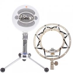 Microfone para Voz Blue Snowball White Ringer Bundle + Aranha