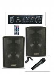 Pack de Karaoke 2 - 600-800W - 2 Colunas + Amplificador + 1 Micro + Cabos