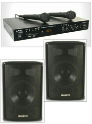 Pack de Karaoke 3 - 600-800W - 2 Colunas + Amplificador + 2 Micros + Cabos