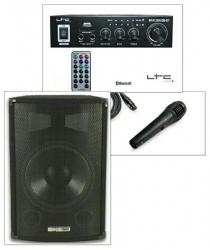 Pack de Karaoke 1 - 300-400W - Coluna + Amplificador + 1 Micro + Cabos