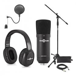 Set 17 - Microfone de Estudio de condensador + Tripe de Micro + Pop Filter + Cabo + Headphones + Bolsa