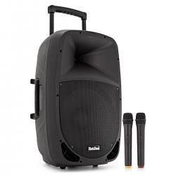Coluna amplificada SubZero SZPA-P15 Portable PA - 80-640W - 15 polegadas - 2 Micros + USB + MP3 + SD Cards + Bluetooth - a bateria/s