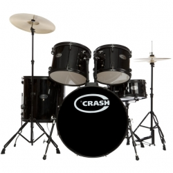 Bateria Acustica completa Crash Force Five + 3 Pratos - preto