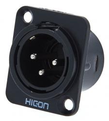 Ficha XLR macho - Hicon HI-X3DM-M - para adaptar em painel