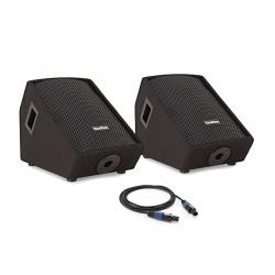 """Pack amplificado de 2 Monitores-Colunas SubZero 10"""" Active/Passive Floor Monitor System + Cabo - 300-600W - 10 polegadas"""
