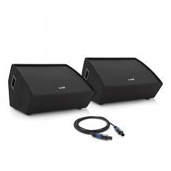 """Pack amplificado de 2 Monitores SubZero 15"""" Active/Passive Floor Monitor System + Cabo - 800-1.600W - 15 polegadas"""