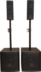 P.A. amplificado Ibiza Cube 204 - 1.200W - 2 Subgraves + 2 Colunas + 2 Barras + Cabos (USB + MP3 + SD Cards + Bluetooth)