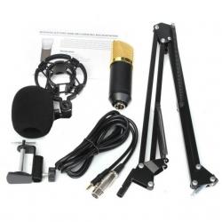 Set 18 - Microfone de Estudio de condensador + Esponja + Aranha + Cabo + Braco articulado