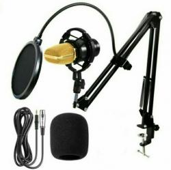 Set 19 - Microfone de Estudio de condensador + Esponja + Aranha + Cabo + Pop Filter + Braco articulado