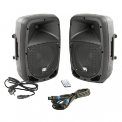 P.A. amplificado Music Store GO! 15A/P Twin - Set  - 2 Colunas + Cabo - 1.500-1.600W (USB + MP3 + SD Cards + Bluetooth + Radio + Comando)