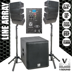 P.A. amplificado VSound VSSARRAY1200 - 1.200W - Line-Array - Subgrave + 8 Colunas + 2 Tripes + Cabos (USB + MP3 + SD Cards + Bluetooth + Radio + DSP)