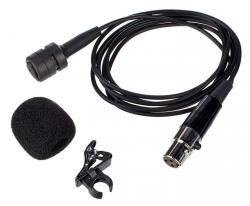 Micro com fio lapela - tambem para ligar aos Emissores dos Micros sem fio - ligacao XLR mini - com clip
