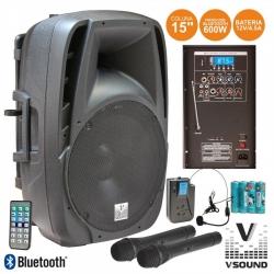 Coluna amplificada VSound VSSE15AWF - 600-900W - 15 polegadas - 3 Micros + USB + SD Cards + Bluetooth + Radio - a bateria/s