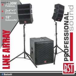 P.A. amplificado BST Helios2.1 - 900-1.400W - Line-Array - Subgrave + 8 Colunas + 2 Tripes + Cabos (USB + MP3 + SD Cards + Bluetooth + Radio + DSP)