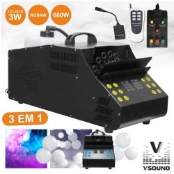 Maquina de Bolas de Sabao e Maquina de Fumo VSound VSFUMBOLHAS600A - 600W - com 12 Leds de 1W - comando a distancia
