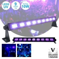 Barra de Luz Negra de Leds VSound LED91UV/Ibiza LED-UVBAR - 9 Leds de 3W - 51x5x6cm